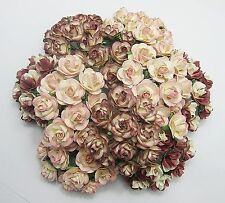 100 Pcs Mixed Colors D8D Mulberry Paper 22 mm Roses Wedding Flowers Decorations