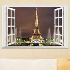 DIY Paris City Eiffel Tower 3D Window Wall Sticker Art Decal Mural Room Decor US