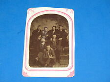 1860s TINTYPE PHOTO ~ THE CIGAR SMOKING CLUB~ stamped E.D.ALVORD, BUSHNELL-ILL