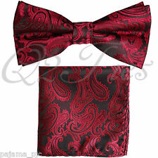 BLACK RED Paisley Pre-tied Bow tie and Pocket Square Hanky Set Formal Party