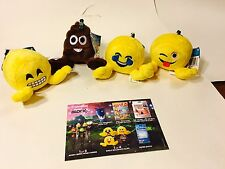 Set of 4 - Emoji Plush w/ clip Wholesale lot - Perfect for Backpacks Nerd Block