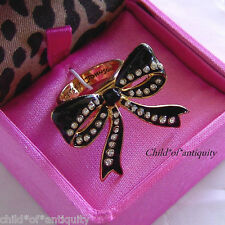 Betsey Johnson Large ICONIC Black Gold Polka Dot RIBBON Bow Crystal Ring W/BOX