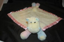 My Banky Shelia Pink Blue Yellow Hippo 12 x 12 Lovey Plush Baby Security Blanket