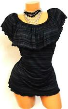 ~ iKANDi ~ AUTHENTIC SEXY RUFFLE OFF SHOULDER BLACK TUNIC PLUS SIZE TOP 1X L