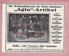 BERLIN SO 36, Werbung 1916, Agfa Fotografie AG für Anilinfabrikation Filme