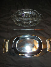 KROMEX platter & glass plate tray fork Vintage 1974 server giftware appetizer