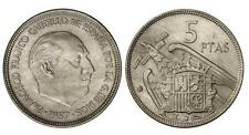 ESPAÑA: 5 Pesetas FRANCO 1957 estrella 74 S/C de cartucho (año 1974)