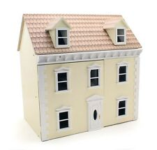 Wooden Dolls House Cream 3 Storey Victorian Traditional Town House Kit Small