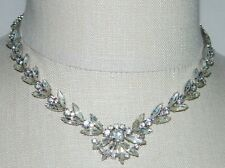 VTG 1942 WEISS Art Deco Styled Clear Rhinestone CZ Flower Choker Necklace