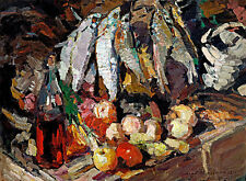 Fishes Wine Fruit A1+ by Konstantin Korovin High Quality Canvas Print