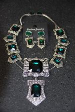Statement Kette mit Ohrringen Collier Strass Silber grün Schmuck Set NEU