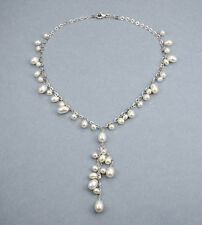 White fresh water rain-drop pearl sterling silver Y necklace. NKL040060