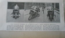 La Motocyclette à roues Laterales relevables coupure de presse 1926