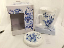 . Porcelain Mug with loose tea strainer and lid - Blue Rose Design (2 available)