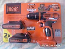 Black & Decker 20V Lithium Cordless Drill/Driver with 2 Batteries