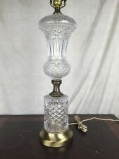 """Large 23"""" Heavy Cut Glass Or Crystal Tall Lamp Light 3 way Vintage MONUMENTAL"""