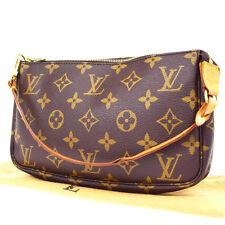 Auth Louis Vuitton Pochette Accessories Hand Bag Monogram Brown M51980 05U387