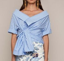 **JOHANNA ORTIZ** Cotton Gingham Daffodil Wrap Around Blouse Top Shirt