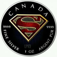 CANADA 2016 SUPERMAN 1 Oz SILVER COLOR COLORED MINTAGE 100 PCS WITH BOX & COA...
