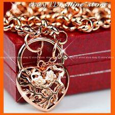18K ROSE GOLD FILLED LADY VINTAGE BELCHER LOVE HEART PADLOCK RING SOLID NECKLACE