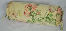 Neck Roll Pillow made w Ralph Lauren Therese Beige Floral Fabric trim self cord
