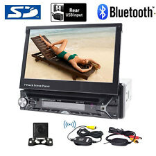 "Single 1Din 7""Flip Up Car Stereo DVD CD Radio Player Touch Screen+Wireless cam"