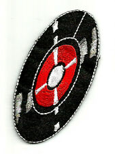 50'S RECORD RED/BLACK EMBROIDERED IRON ON APPLIQUE PATCH