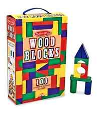 Wooden Blocks Set Building Essentials 100 Piece Toddler Children Kids Pretend
