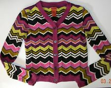 MISSONI girls Multi Color ZIG ZAG CHEVRON Sweater Cardigan* L