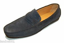 Saks Fifth Avenue Men's Blue Loafers Suede Italy Shoes Size 13 $278