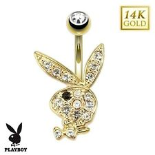 PLAYBOY BUNNY 14K. Solid Yellow GOLD BELLY Button NAVEL RING Piercing Jewelry