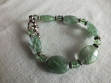 Beautiful Clasp Bracelet Silver Tone Marbled Jade Green Glass Beads & Crystals