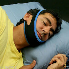 Stop Snoring Chin Strap Anti Snore Belt Apnea Jaw Support Solution Sleep - Blue