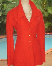Bold CHANEL Coral Jacket  FR38 6 S Classic Vintage w/Coral+Gold 'CC' Buttons
