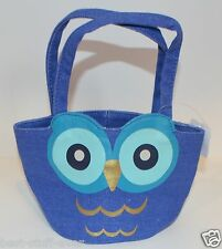 BATH & BODY WORKS BLUE OWL SMALL TOTE CANVAS BAG PURSE HANDBAG MAKEUP HTF RARE