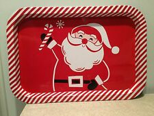 "NEW SANTA CLAUS CANDY CANE BORDER 9""x13"" RETRO STYLE TIN TRAY"