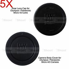 5x M4/3 Rear Lens Cap +Micro 4/3 Camera Body Cover for Olympus OMD EM1 EM5 EM10