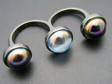 $24 Spring Street Galactic Double Finger Gunmetal Ring 3 Cabochons Sz 6.5 and 7