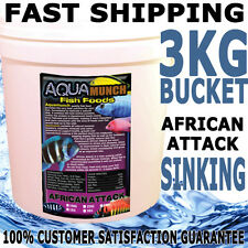 AQUAmunch African Attack Aquarium Cichlid Fish Tank Aqua Food Pellet 3KG Bucket