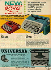 1965 PAPER AD Typewriter Rooyal Universal Parade Safari Remington Torpedo Adding