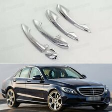 5 x Chrome Outer Side Car Door Handle Cover Trim for Mercedes Benz C-Class 15-17
