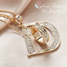 18K Gold Plated Simulated Diamond Double Layer Letter D And Ring Long Necklace