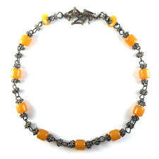 Vintage Tribal Butterscotch Amber Resin Barrel Bead & Silver Chain Link Necklace