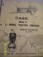 VINTAGE  JI CASE PARTS  MANUAL- # 75  TRACTOR SPREADER - 1957
