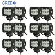 12x 4inch Cree Pods 18W LED Work Light Flood ATV Driving Fog Offroad Boat SUV