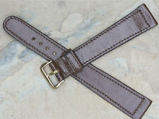Long 19mm vintage watch strap NOS from 1950s chocolate brown stitched cowhide
