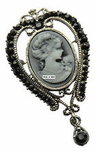 Vintage Style Cameo Lady Dangle Brooch Crystal Mothers Day Gift Bouquet New