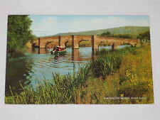 VINTAGE Eckington Bridge, River Avon Postcard England Water Forest Boat