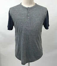 Alternative Apparel Earth Men's Eco-Jersey Henley Homerun Size M Grey/Navy NEW