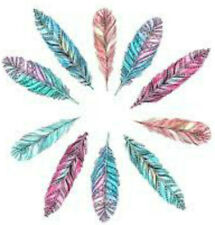20 water slide nail art transfer decals colorful feathers trending 3/8 inch